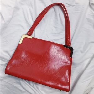 Red smooth leather satchel tote